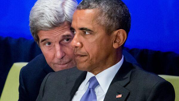 El Secretario de Estado John Kerry y el Presidente Barack Obama, 29 de septiembre de 2015 - Sputnik Mundo
