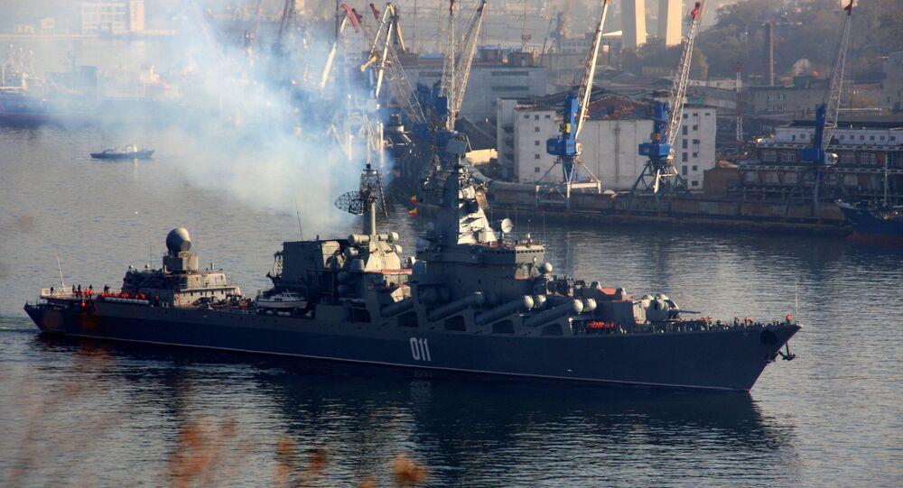 El crucero lanzamisiles Variag de la Flota del Pacífico Rusa