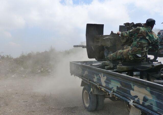 El Ejército sirio durante los combates  en la provincia de Hama (archivo)