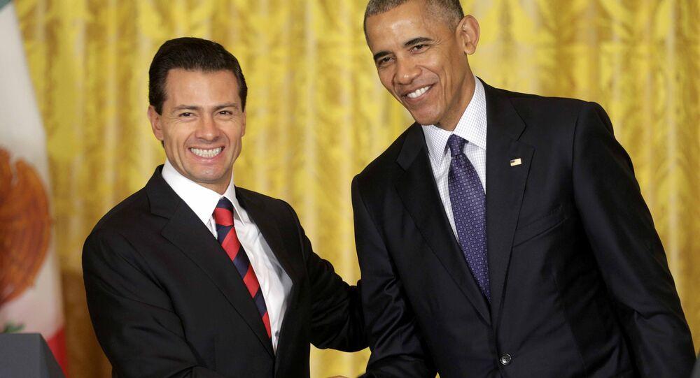 El presidente de México, Enrique Peña Nieto, y el  presidente de EEUU, Barack Obama