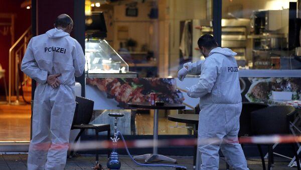 Policías en el lugar del ataque con machete que se produjo en la ciudad alemana de Reutlingen - Sputnik Mundo