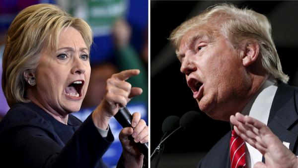 Hillary Clinton, la candidata del partido Democrático y Donald Trump, el candidato del partido Republicano - Sputnik Mundo