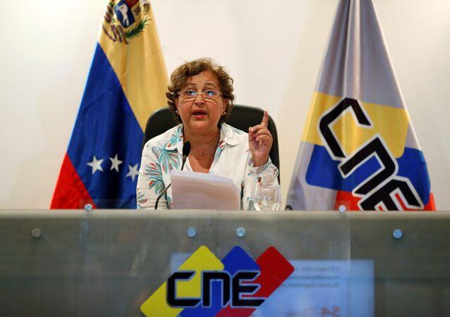 Tibisay Lucena, presidenta del Consejo Nacional Electoral de Venezuela (archivo)