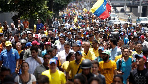 Manifestación de protesta en Caracas (archivo) - Sputnik Mundo