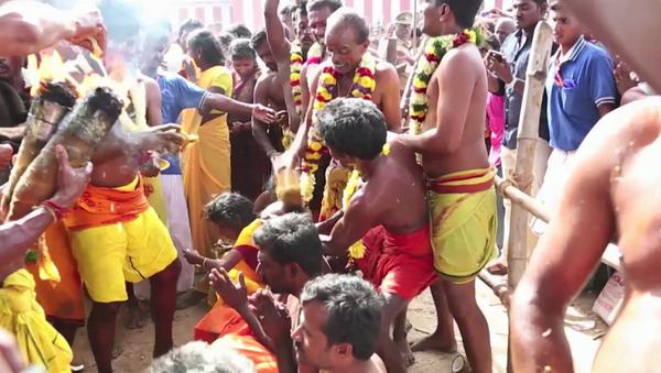 El dolor no existe: en la India parten cocos con la cabeza - Sputnik Mundo