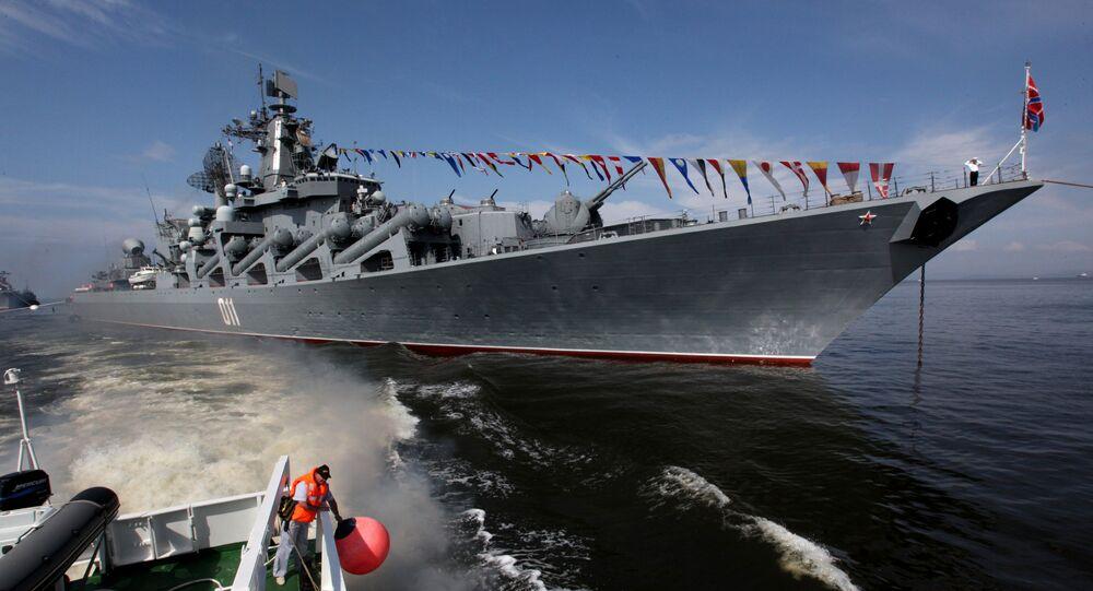 El crucero lanzamisiles ruso Variag en Vladivostok