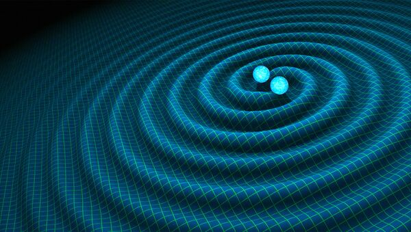 An artist's impression of gravitational waves generated by binary neutron stars - Sputnik Mundo