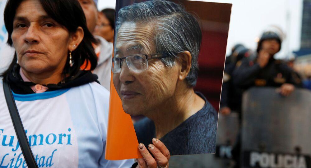 Una manifestación en apoyo del expresidente de Perú, Alberto Fujimori