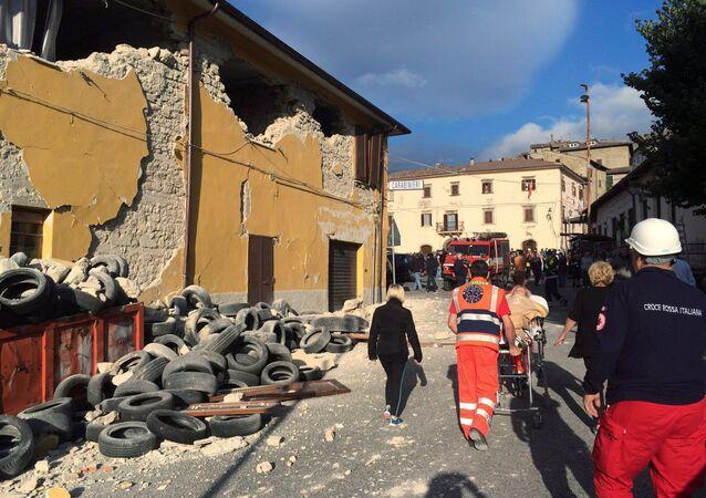 Situación en Accumoli di Rieti, Italia