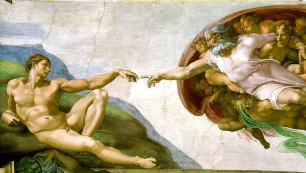 La creación de Adán, fresco pintado por Miguel Ángel - Sputnik Mundo