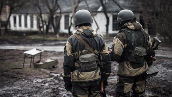Voluntarios de la república autoproclamada de Donetsk en el pueblo de Shirókino - Sputnik Mundo