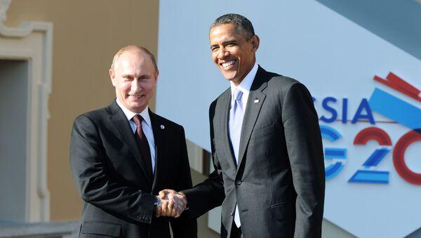 Reunión del presidente ruso, Vladímir Putin, y el presidente estadounidense, Barack Obama, en el marco de la cumbre del G-20 (archivo) - Sputnik Mundo