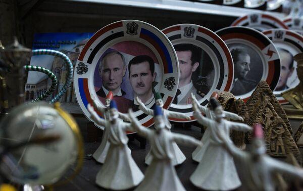 Platos con Putin y Asad en Damasco - Sputnik Mundo