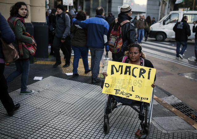 Protesta de trabajadores en Buenos Aires, Argentina