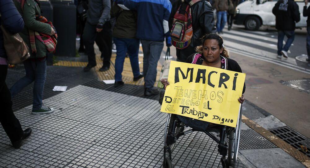 Protesta de trabajadores en Buenos Aires, Argentina (archivo)