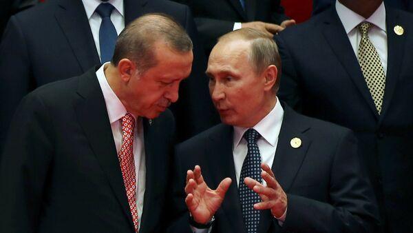 El presidente ruso, Vladímir Putin, con su homólogo turco, Recep Tayyip Erdogan (archivo) - Sputnik Mundo