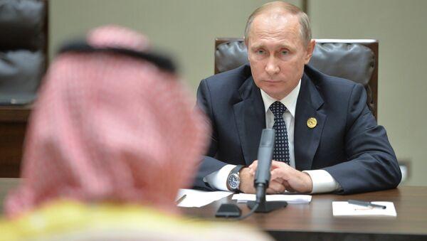 Vladímir Putin, presidente ruso, durante la reunión con Mohamed bin Salmán, príncipe heredero sustituto y ministro de defensa de Arabia Saudí, en el marco de la cumbre del G20 en Hangzhou. - Sputnik Mundo