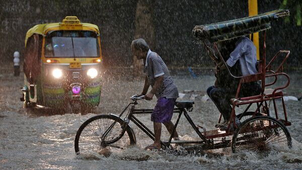 Un conductor de 'rickshaw' durante una fuerte lluvia en Nueva Delhi. - Sputnik Mundo