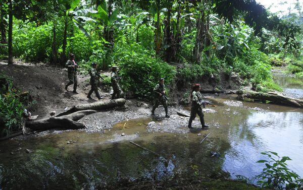 Guerrilleras de las FARC en patrulla - Sputnik Mundo