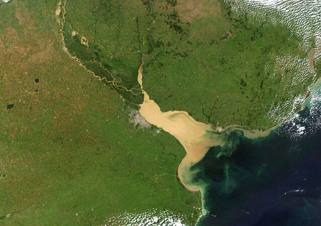Vista satelital del río Paraná