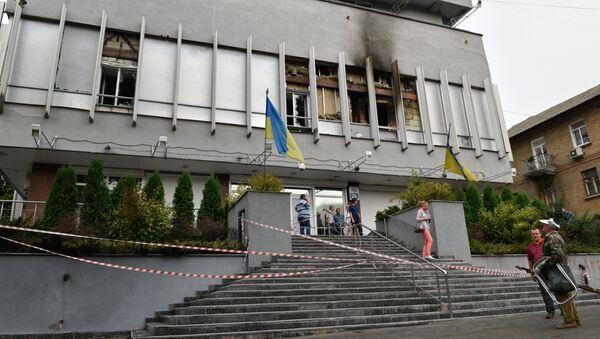 Sede de la cadena ucraniana Inter tras el incendio - Sputnik Mundo