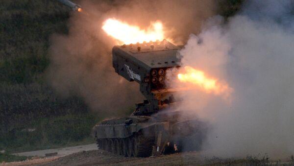 El sistema de lanzacohetes incendiarios ruso Solntsepiok en el Fotro Internacional Army 2016 - Sputnik Mundo