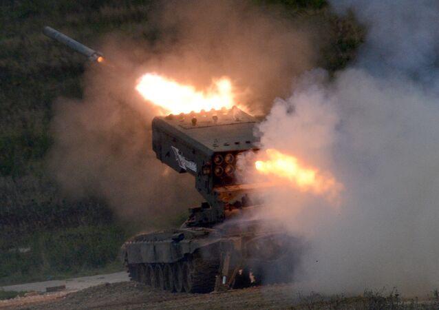 El sistema de lanzacohetes incendiarios ruso Solntsepiok en el Fotro Internacional Army 2016