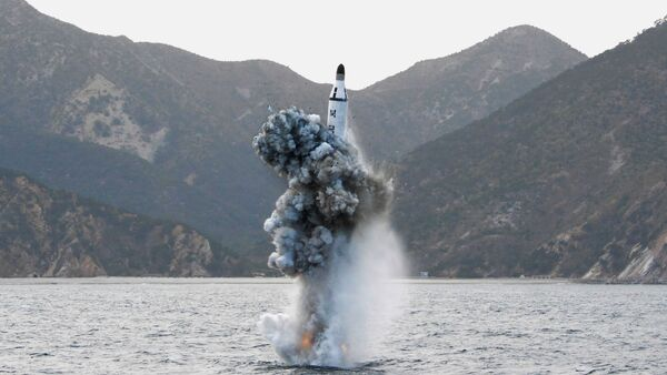 North Korean leader Kim Jong Un guides on the spot the underwater test-fire of strategic submarine ballistic missile in this undated photo released by North Korea's Korean Central News Agency (KCNA) in Pyongyang on April 24, 2016 - Sputnik Mundo