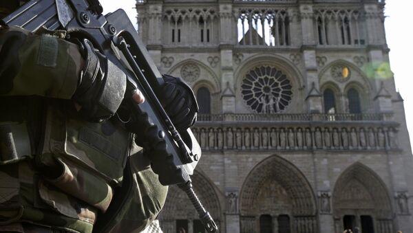 Soldado frances frente a la catedral Notre Dame en París - Sputnik Mundo