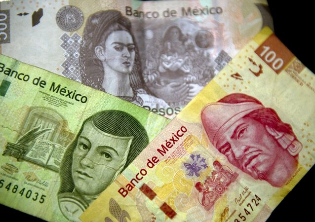 Picture of Mexican Peso notes of different denominations taken on December 27, 2011 in Mexico City