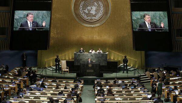 El presidente de Colombia, Juan Manuel Santos, durante su discurso en la Asamblea General de la ONU - Sputnik Mundo