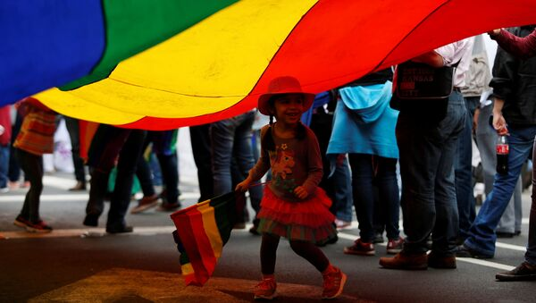 A child runs under a rainbow flag during a march in support of gay marriage, sexual and gender diversity in Mexico City, Mexico - Sputnik Mundo