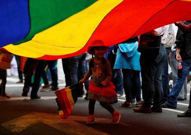 La bandera de arcoíris que representa a las personas LGBT