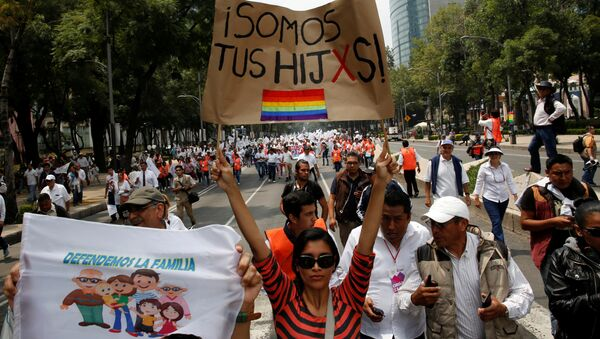 A woman holds a sign near the Angel of Independence monument in support for the legalization of gay marriage while others behind participate in a protest march against it and defend their interpretation of traditional family values, in Mexico City, Mexico - Sputnik Mundo