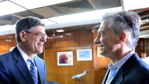El presidente argentino, Mauricio Macri, y el secretario del Tesoro de EEUU, Jack Lew - Sputnik Mundo