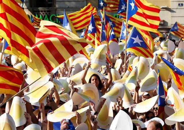 Las banderas independentistas catalanas