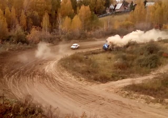 Accidente en la carrera 'Rally Siberia'