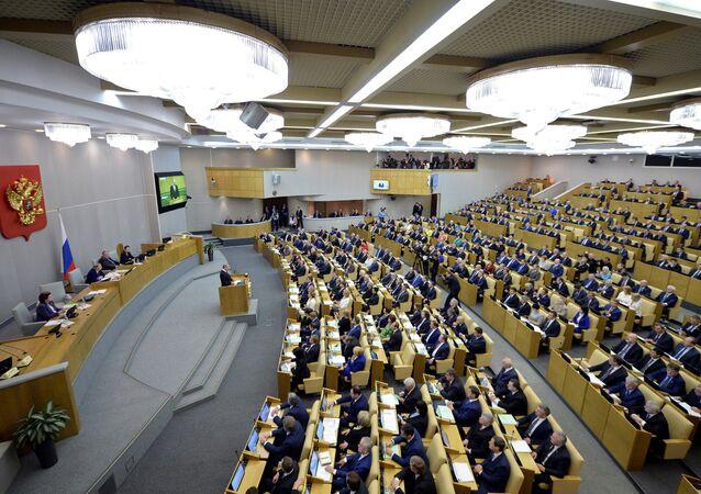 Putin pronuncia un discurso ante los parlamentarios de la nueva Duma (archivo)