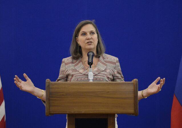Victoria Nuland, subsecretaria del Departamento de Estado de EEUU, durante su visita a Moscú en 2015