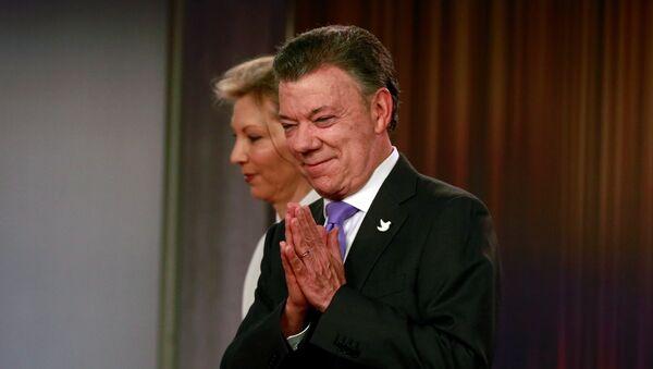 Juan Manuel Santos, presidente de Colombia, con su esposa - Sputnik Mundo