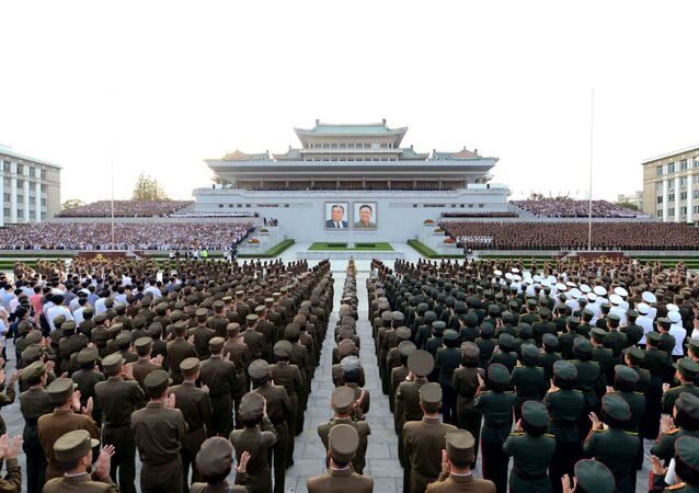 Corea del Norte celebrando el éxito de un ensayo nuclear
