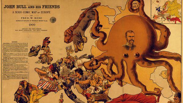 Mapa satírico de 1900 - Sputnik Mundo