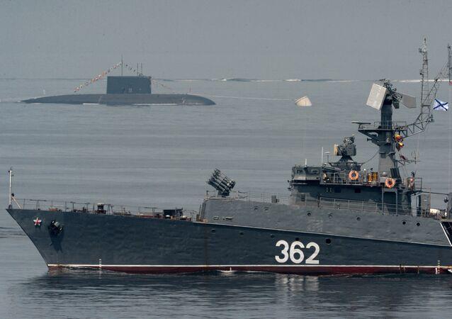 Un buque militar ruso