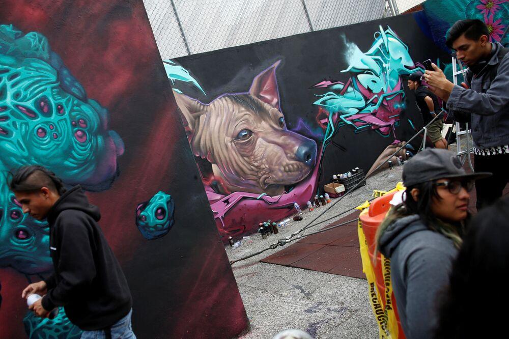 Los participantes y visitantes del festival de grafiti en Ciudad de México