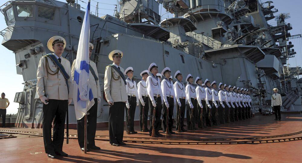 Crucero lanzamisiles Piotr Veliky en el puerto de Tartus