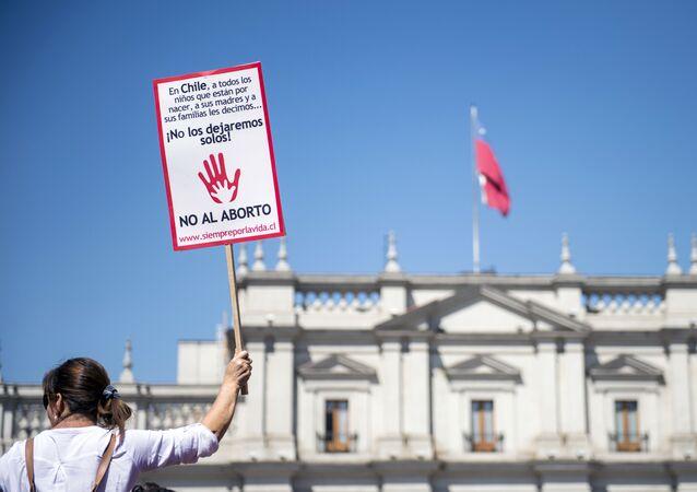 Una protesta contra el aborto en Santiago, Chile