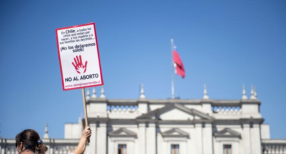 Una protesta contra el aborto en Santiago, Chile (archivo)
