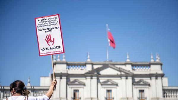 Una protesta contra el aborto en Santiago, Chile - Sputnik Mundo