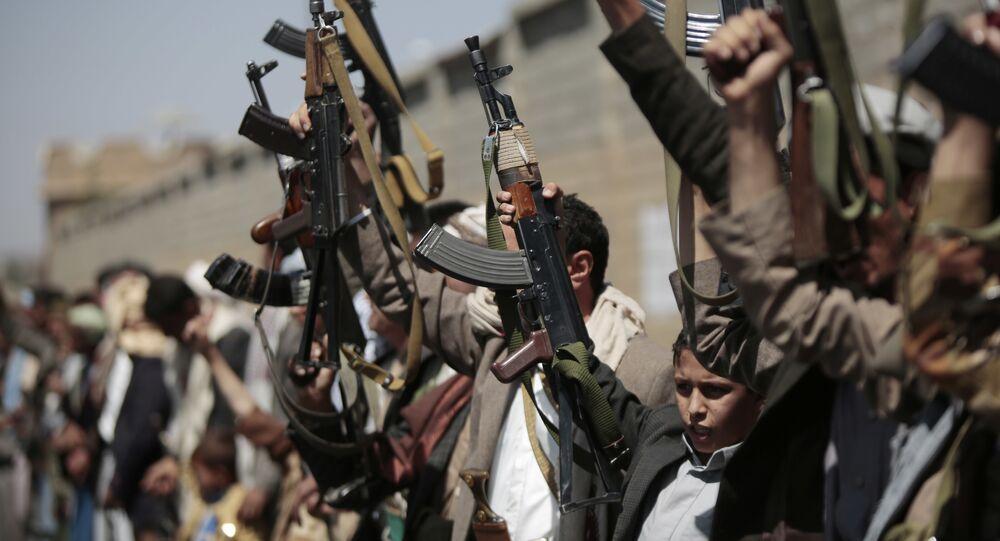 Los partidarios de los hutíes en Sana