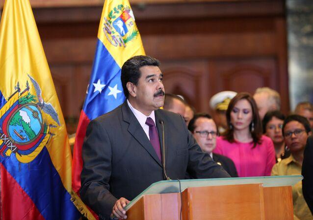 Venezuela's President Nicolas Maduro speaks during a visit at the Ecuador's National Assembly in Quito, Ecuador October 17, 2016.